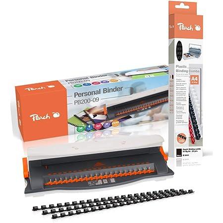 Peach PB200-09A Relieuse en plastique | Reliure 50 feuilles | Reliure max. 12 mm | Capacité de perforation 4 feuilles | Avec kit de démarrage 25 pièces