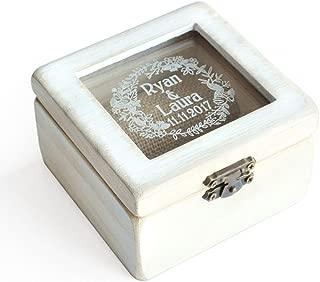 Custom Ring Bearer Box, Rustic Wedding Ring Box, Wooden Ring Bearer Box, Personalized Gift