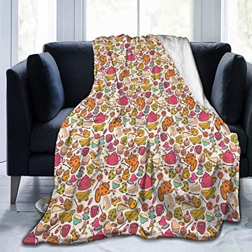 Manta mullida, estilo retro, diseño de cosas de cocina, tazas y ollas, deliciosos pasteles, dulces coloridos, ultra suave, manta para bebé, cama, cama, TV, manta de 152 x 127 cm