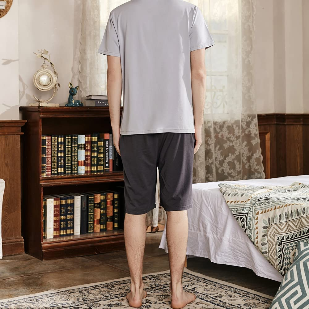 ASHER FASHION Mens Pajama Set Short Sleeve Summer Elastic Top Plus Size Sleepwear 2 Piece Pjs Set Lightweight with Shorts