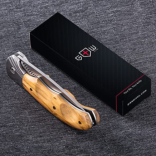 Gentleman's Folding Knife Pocket Knife Knives Knofe Wood Handle Sharp Blade - Pocket Knife for Men - Best Folder for Camping Hunting - EDC and Outdoor Gear - Birthday Christmas Gifts for Men 6651