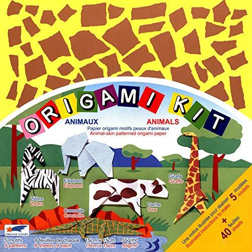 Origami Loisirs - Origami Kit Animaux - Notice Illustrée + 40 Feuilles de Papier Origami Motifs Peaux d'Animaux - 15cm x 15cm
