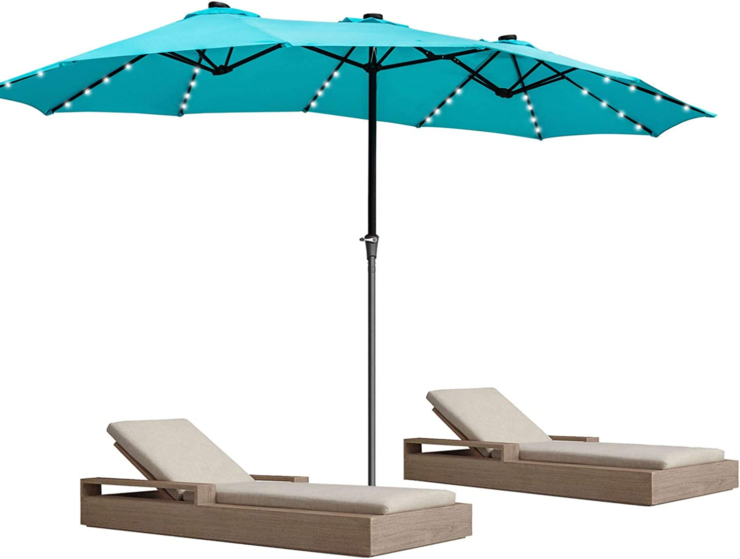 GDY 15Ft Ranking TOP7 Patio Umbrella Solar Powered Aluminum D Lighted LED 48 price