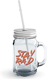 Clear Mason Jar-Stay Rad Glass Jar With Straws With Words