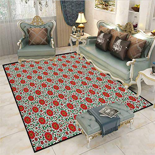 Garden Art entryway Rugs Indoor Small Rug Floral Pattern with Colorful Fantasy Plants Buds and Blossoms Summer Nature Art Learning Carpets Carpet for Rooms Multicolor 6 x 8.8 Ft