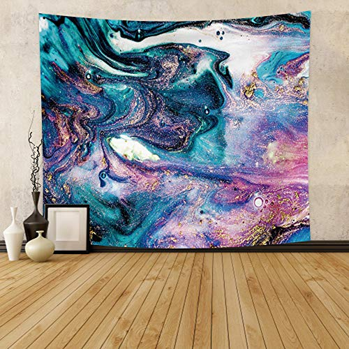 Qinunipoto Purple Marble Wall Tapestry Teal Blue Purple Swirl Vibrant Painting Wall Hanging Gold Glitter Liquid Flow Oriental Abstract Fluid Art Aesthetic for Living Room Bedroom Home Decor 71x63inch