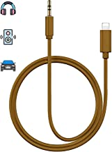 Aux Cord for iPhone X Car AUX Cable 3.5mm Compatible for iPhone Xs/XS Max/X/8/7Plus/6/6s Aux Male Cable Audio Adapter for Car/Home Stereo Speaker & Headphone Whihge Support All iOS [Upgraded] - Brown