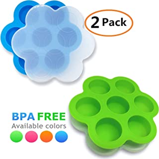 GOKCEN's Silicone Egg Bites Molds For Instant Pot Accessories - Fit Instant Pot 5,6,8 qt Pressure Cooker - Baby Food Freezer Tray with Lid - Reusable Storage Container - 2 Pack (Blue & Green)