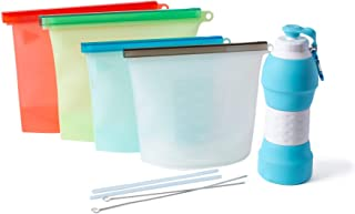 Reusable Silicone Storage Food Bags, Ziplock bags, Sous Vide Bags, Meal Prep Bags, Foldable Collapsible Water Bottle and Reusable Silicone Straws