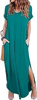 VONDA Vestidos para Mujer Verano Casual Playa Cuello en V Talla Extra Maxi Vestido Largo Bohemio con Bolsillos