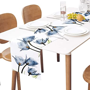 Floral Table Runner-Blue Tulip Cotton linen-Long 72 inche Dresser Scarves,Flower Rustic Tablerunner for Kitchen Coffee/Dining
