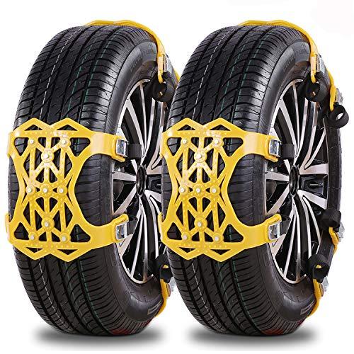 IREGRO Schneeketten, Universal Reifenketten für Auto, TPU-Material Reifenketten Schneeketten, Anti-Rutsch-Ketten für Reifenbreite 165mm-275mm, 6 Stücke