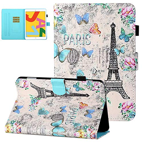 UGOcase iPad 8th Generation 2020 Case with Pencil Holder, iPad 7th Gen 2019 Case with Card Slots, PU Leather TPU Back Shockproof Stand Cover with Auto Sleep Wake for iPad 8 2020(10.2') - Eiffel Tower