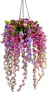 Mixiflor Artificial Wisteria Hanging Flower, Hanging Basket Silk Flower Wisteria Garland Vine for Home Outdoor Decoration