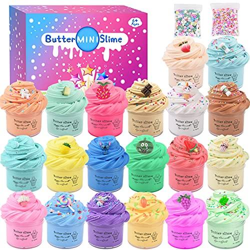 Juego de 20 kits de Fluffy Butter Slime con Slime blando Deja Fait, sandía roja, crema helada blanca, café azul, supersuave y antiadherente, juguete antiestrés para niños y niños