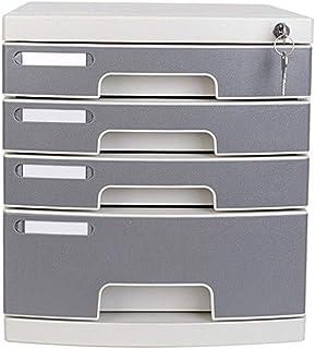 KANJJ-YU 4 couches en plastique cosmétique bureau tiroir, Rangement Organisateur tiroir verrouillable Sorter A4 Box for Of...