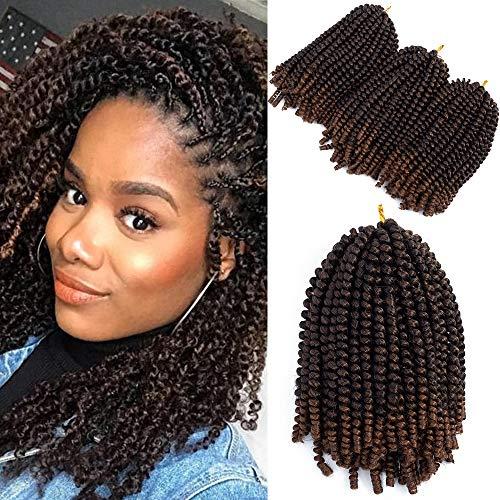 Spring Twist Crochet Hair Bomb Twist Hair Fluffy Twist Braiding Synthetic Hair 8inch 3packs Natural Hair Extension (T1B/30)