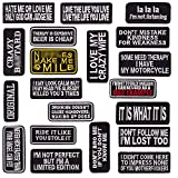 U-Sky Iron on Patches Pack 20pcs Assorted Iron on Word Patches for Motorcycle Biker Vest Different Slogan Letter Patch for Backpacks Sew on Appliques for Jeans Jackets Book Bag Clothing