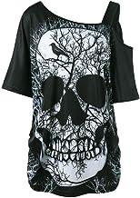 Vrouwen met korte mouwen T-shirt Skew Skull T-shir...