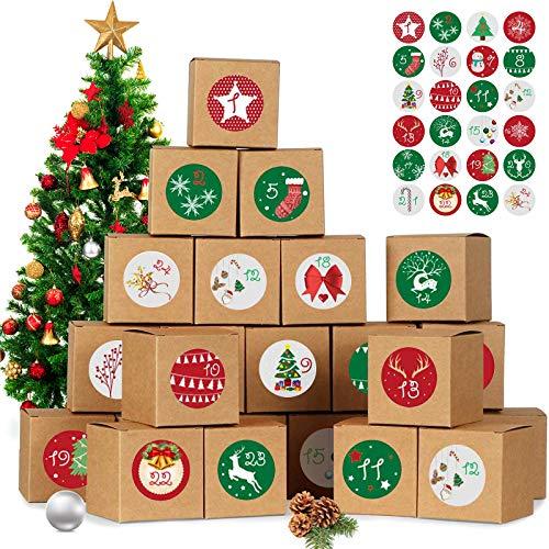 SSYING Adventskalender zum Befüllen, 24 Adventskalender Geschenkbox, mit Zahlenaufklebern, für Weihnachtlichen 2020 zum Basteln und Befüllen, Weihnachts-Geschenkschachtel zum DIY, Golden