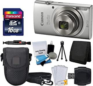 Canon PowerShot ELPH 180 Digital Camera (Silver) + Transcend 16GB Memory Card + Point..