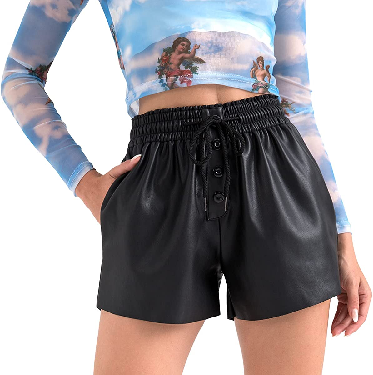 Tagoo Faux Leather Shorts for Women High Waisted Wide Leg Paperbag Short Pants with Pockets