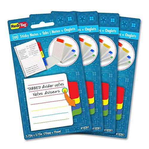 Redi-Tag Mini bloco de notas divisória pautado, 100 notas adesivas com abas, 4 abas coloridas, 7 cm quadrado, 4 pacotes (10246)