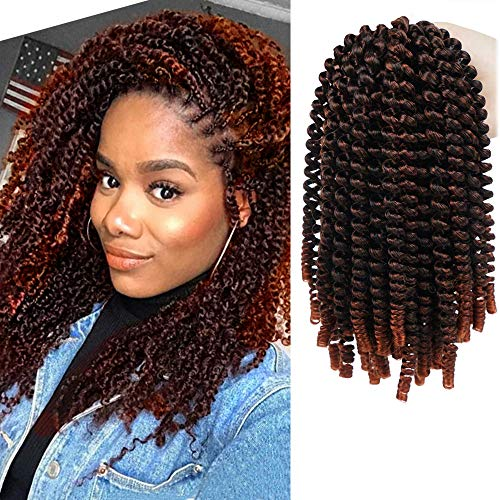 Spring Twist Hair 8 Inches Crochet Braids Ombre Red Spring Twists Passion Twist Crochet Hair Water Wave for Butterfly Locs Nubian Twist Crochet Braiding for Black Women Braiding hair extensions 110g (T1B-350, pack of 4)