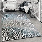 Alfombra De Diseño Moderna para Salón con Dibujo Ornamental Gris Azul,...