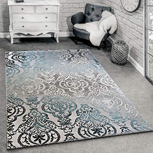 Paco Home Designer Teppich Moderne Ornamente Muster Wohnzimmerteppich Grau Blau, Grösse:160x230 cm