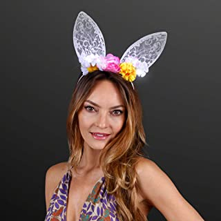 Floral & White Lace Bunny Rabbit Ears Headband with LED Lights