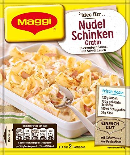 Maggi Fix für Nudel-Schinken Gratin, cremige Sahne-Sauce mit Schnittlauch, für Nudelauflauf, 18er Pack (18 x 28 g)