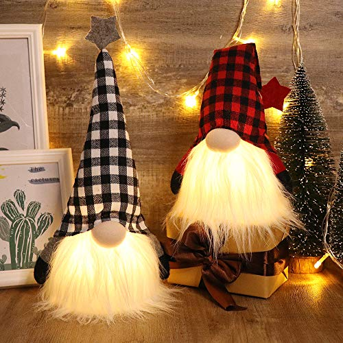 S-DEAL Christmas Gnome Plush Scandinavian Light Tomte Buffalo Nordic Figurine Swedish Yule Santa Holiday Decorations Winter Table Ornament, 12 Inches Tall Set of 2