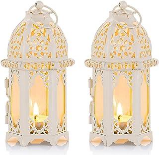 Linterna de Vela Estilo Marroquí de 2 Piezas - Portavelas de Tealight de Tamaño Pequeño con Paneles de Vidrio Transparente Ideal para Patios, Interiores/Exteriores, Eventos, Fiestas y Bodas, Blanco