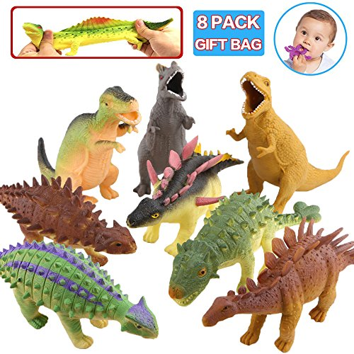 Spielzeuge in Form von Dinosauriern,Gummi 8 inch (8 Packset),lebensmittelgeeignetes Material TPR,super dehnbar,mit geschenkter Tasche ,Tierwelt, Dinosaurierfiguren,für Jungs und Kinder,Partyzubehör
