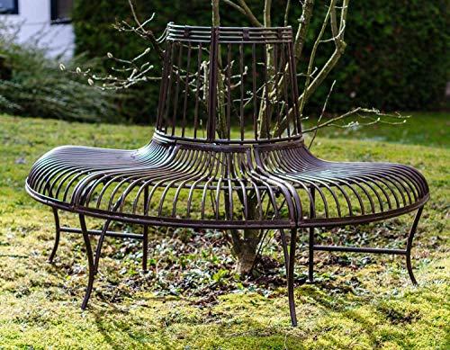 Gartenbank Bank Antik-Stil Garten Metall Eisen braun Möbel Baumbank 134cm - 5