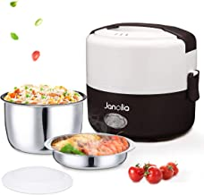 Janolia Electric Food Steamer, Portable Lunch Box Steamer with Stainless Steel Bowl and Plate
