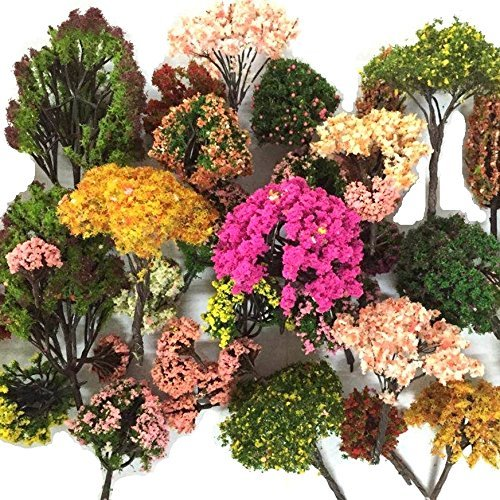 NW 32pcs Mixed Colorful Model Trees Model Train Scenery Architecture Trees Model Scenery with No Stands(0.79-6.30inch)