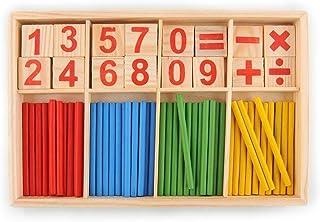 comprar comparacion JER Número 1 Ajuste los Palillos de Madera Número Montessori Tarjetas y la Cuenta del Juguete Educativo Varillas con la Ca...