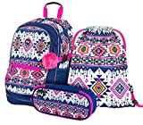 Schulrucksack Set 3 Mädchen Teilig, Schultasche ab 3. Klasse, Grundschule Ranzen mit Brustgurt, Ergonomischer Schulranzen (Boho)