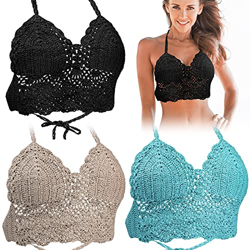 3 Pieces Women Beach Crochet Crop Summer Halter Tank Top Handmade Crochet Crop Top Bralette Knit Bra Boho Bikini Beach Knit Bralette Hollow Out Knit Bikini for Female (Black, Blue, Khaki)