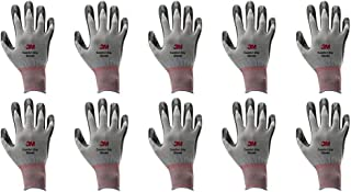 3M Lightweight Nitrile Foam Coated Best Work Gloves, Washable_Smart Touch 10 Pairs Pack (Medium, Grey)