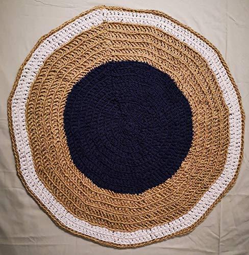 Con&Sal Alfombra ARTESANA Redonda Azul Yute y trapillo Sala de Estar recibidor bohochic rústico Hecha a Mano Tendencia alfombras 100 cm de diámetro Regalos Originales