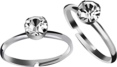 Aboat 52 Pack Bridal Shower Rings Silver Diamond Rings for Party Supply Table Decorations Favor Accents