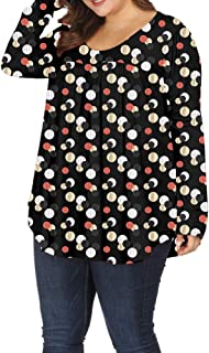 Plus Size Tops for Women Long Sleeve Floral Pleated...