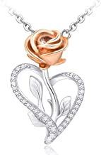 Distance Heart Rose Necklace for Women CZ Infinity Flower Necklace S925 Sterling Silver Snake Pendant Necklace Jewelry with Gift Box for Women Mom Daughter Girlfriend Wife
