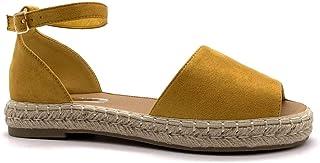 3bafcdb90604f Angkorly - Chaussure Mode Sandale Espadrille lanière Cheville Plate Mariage  cérémonie Femme avec de la Paille