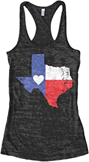 Threadrock Women's Texas State Flag with Heart Burnout Racerback Tank Top