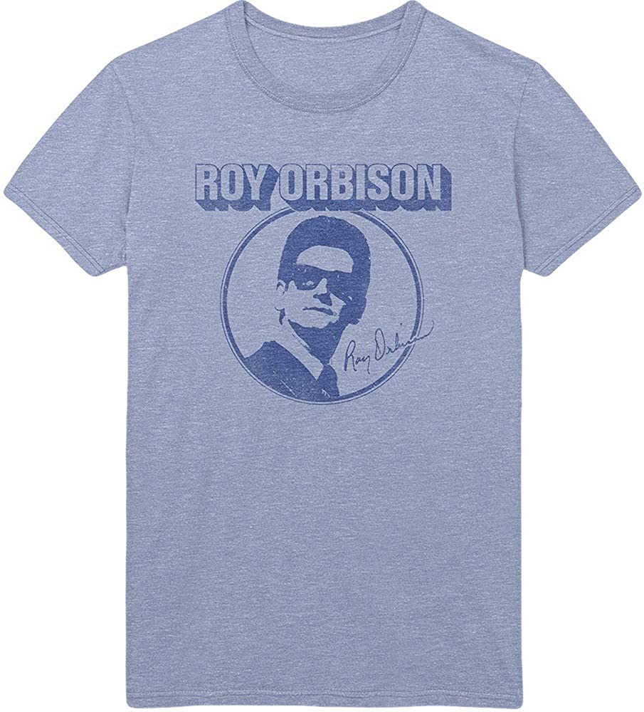 Free Shipping New Roy Orbison Men's Photo Circle Max 66% OFF Fit Slim Blue T-Shirt