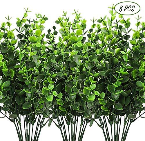 Djqw Künstliche Pflanzen Wetterfest Grünpflanze UV-Beständigkeit Gefälschte Pflanze Outdoor Garten Zaun Familie ideale Dekoration (Color : Green, Size : 8pcs)